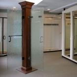 Textured Shower door display at Oasis Shower Doors