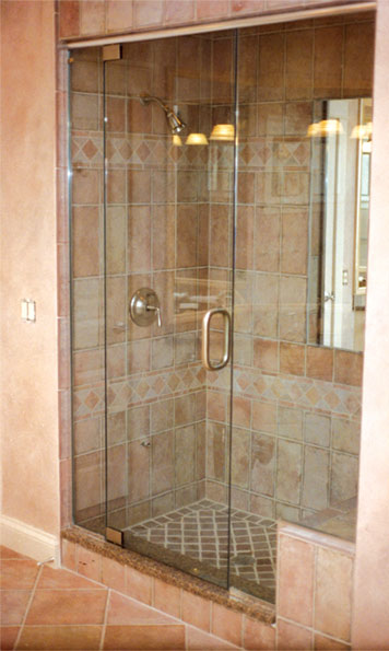 Bathroom glass door installation images glass door design for Bathroom shower stall replacement