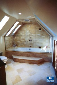 Frameless French Door Tub Enclosure, Dormer Cut inline Panels