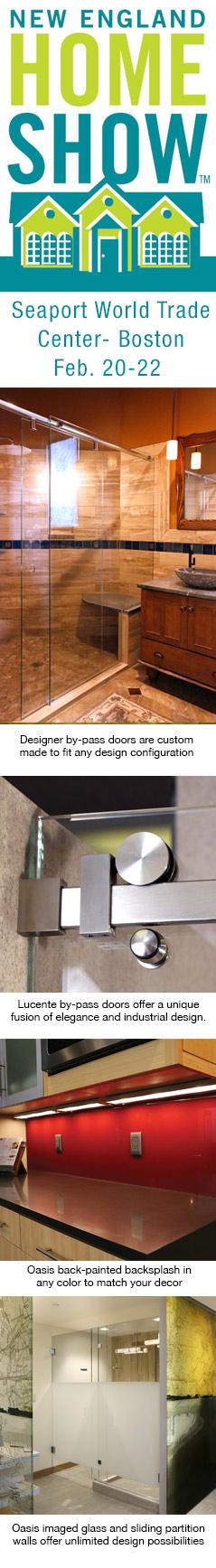 Frameless Slider, by-pass doors, glass backsplash, Sliding partition walls
